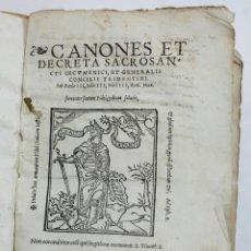 Libros antiguos: CONCILIO DE TENTO, CANONES ET DECRETA SACROSANCTI, GRANATAE, GRANADA. AÑO 1564. 15X21 CM.. Lote 53783483