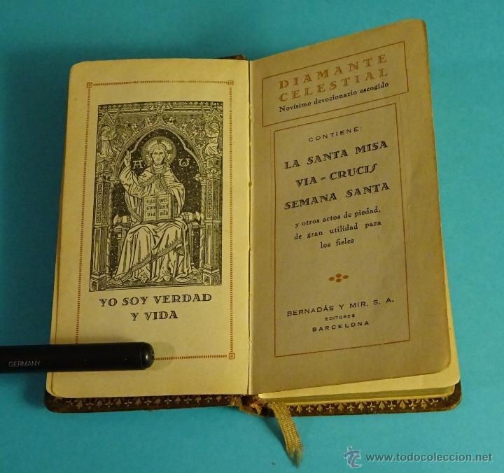 DIAMANTE CELESTIAL, NOVÍSIMO DEVOCIONARIO ESCOGIDO. BERNADÁS Y MIR, EDITORES. PIEL. CORTES DORADOS (Libros Antiguos, Raros y Curiosos - Religión)
