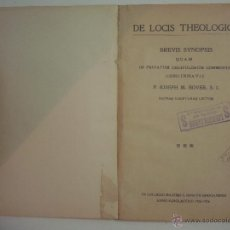 Libros antiguos: P. IOSEPH M. BOVER. DE LOCIS THEOLOGICIS. 1925. FOLIO MENOR.. Lote 54421550