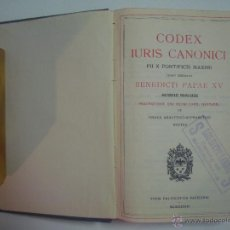 Libros antiguos: CODEX IURIS CANONICI. BENEDICTI PAPAE XV. 1933. PAPEL BIBLIA. Lote 54435675