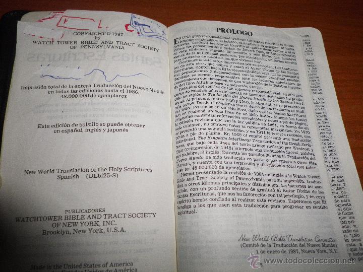Libros antiguos: BIBLIA TESTIGOS DE JEHOVA Traduccion del nuevo mundo WATCHTOWER EDICIÓN LUJO BOLSILLO - Foto 4 - 190918042