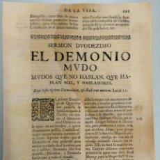 Libros antiguos: IGLESIA CATOLICA, SERMON SIGLO XVIII, SOBRE EL DEMONIO MUDO, AÑO 1750 APROX.CRISTIANISMO-RELIGION. Lote 54910636