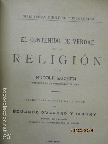Libros antiguos: EL CONTENIDO DE VERDAD EN LA RELIGIÓN - RUDOLF EUCKEN - Año 1925 - Foto 8 - 55145509