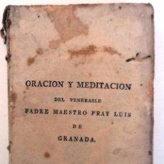Alte Bücher - LIBRO DE LA ORACION Y MEDITACION . 1819 FRAY LUIS DE GRANDA - 55399201
