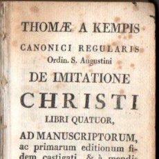 Libros antiguos: THOMAE A. KEMPIS : DE IMITATIONE CHRISTI LIBRI QUATOR (MICHAELEM ET THOMAM GASPAR, C. 1790) . Lote 55518348