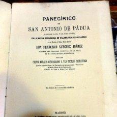 Libros antiguos: PANEGIRICO DE SAN ANTONIO DE PADUA PREDICADO EN VILLAFRANCA DE LOS BARROS,BADAJOZ,1889. Lote 56108129