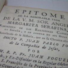 Libros antiguos: INTERESANTE LIBRO DE PERGAMINO...VIDA DE SOR ANGELA MARGARITA SERAFINA...AÑO..1.743. Lote 56163438