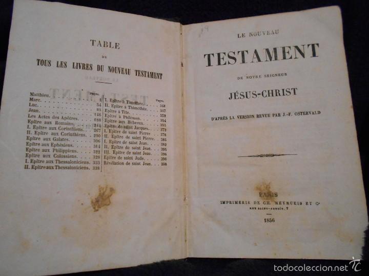 LE NOVEAU TESTAMENT DE NOTRE SEIGNEUR JÉSUS-CHRIST, D'APRÈS LA VERSIÓN REVUE PAR J.F. OSTERVALD 1856 (Libros Antiguos, Raros y Curiosos - Religión)