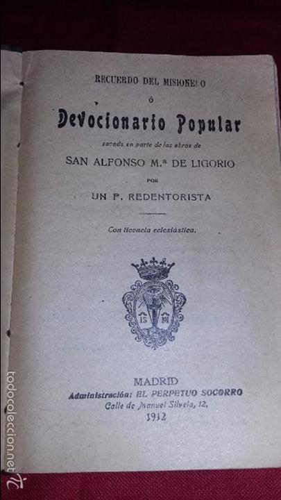 Libros antiguos: RECUERDO DEL MISIONERO O DEVOCIONARIO POPULAR MADRID 1912 - Foto 3 - 56364608