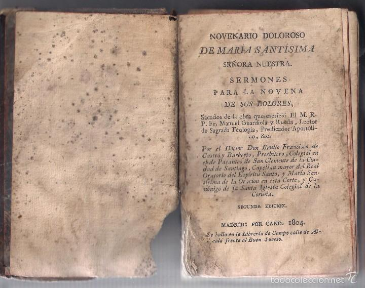 Libros antiguos: NOVENARIO DEOLOROSO DE MARIA SANTÍSIMA 1804 - Foto 2 - 56662724