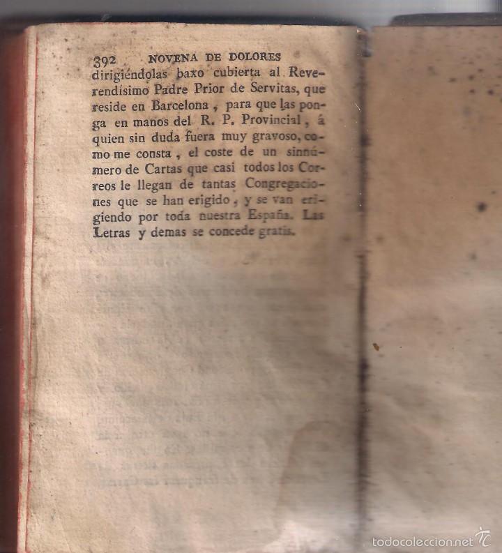 Libros antiguos: NOVENARIO DEOLOROSO DE MARIA SANTÍSIMA 1804 - Foto 3 - 56662724