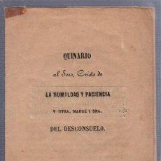 Libros antiguos: QUINARIO AL CRISTO DE LA HUMILDAD Y PACIENCIA Y NTRA MADRE DEL DESCONSUELO. PUERTO SANTA MARIA. 1854. Lote 57000920