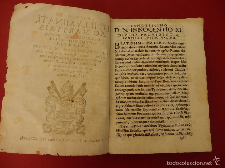 Libros antiguos: Apostrophe Dris Illuminati, ac Martyris, gloriosissimi beati Raymundi Lulli Balearis. 1688. Mallorca - Foto 8 - 57566535
