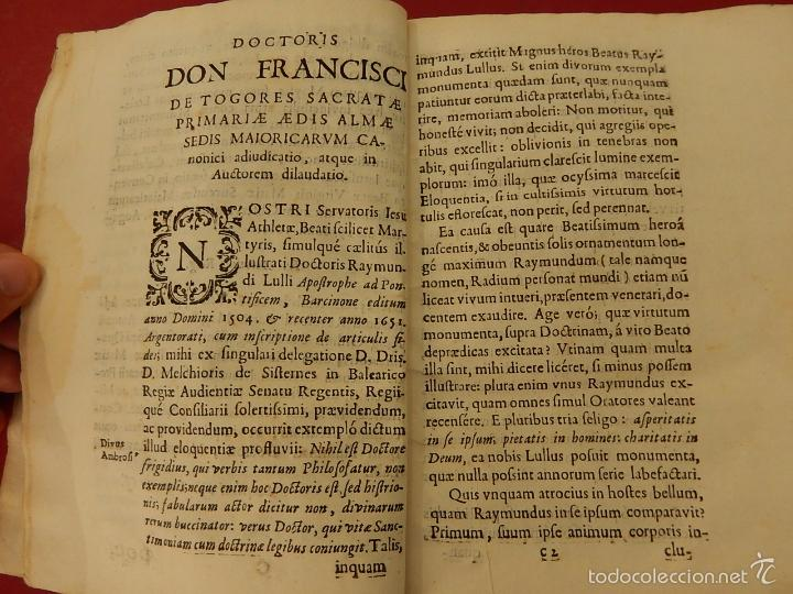 Libros antiguos: Apostrophe Dris Illuminati, ac Martyris, gloriosissimi beati Raymundi Lulli Balearis. 1688. Mallorca - Foto 11 - 57566535