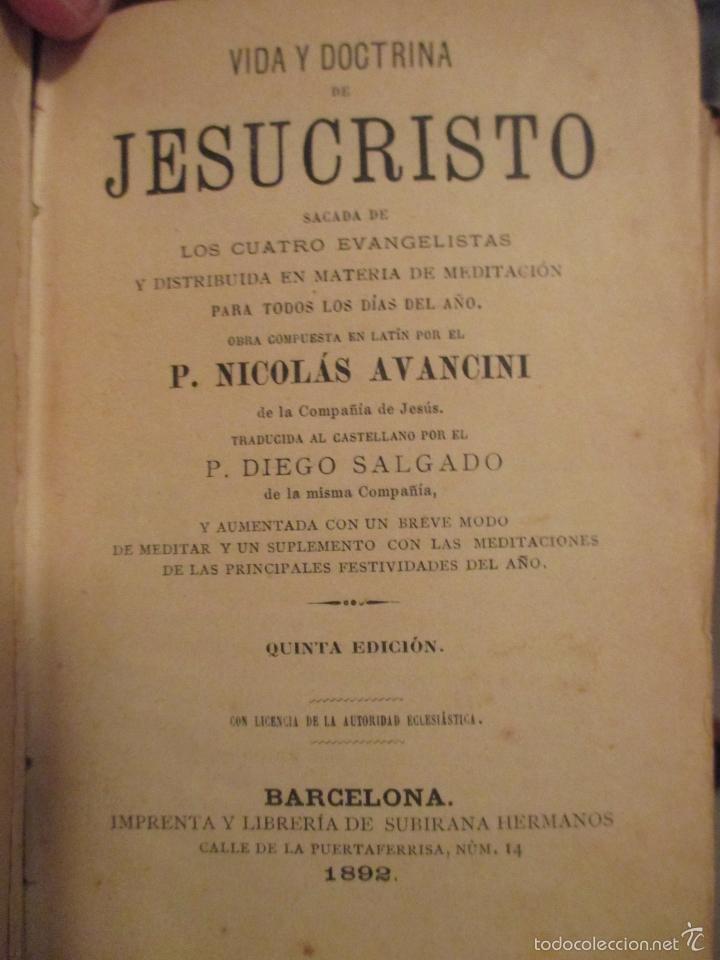 Libros antiguos: VIDA Y DOCTRINA DE JESUCRISTO. AVANCINI. 1892. BARCELONA. - Foto 2 - 57609196