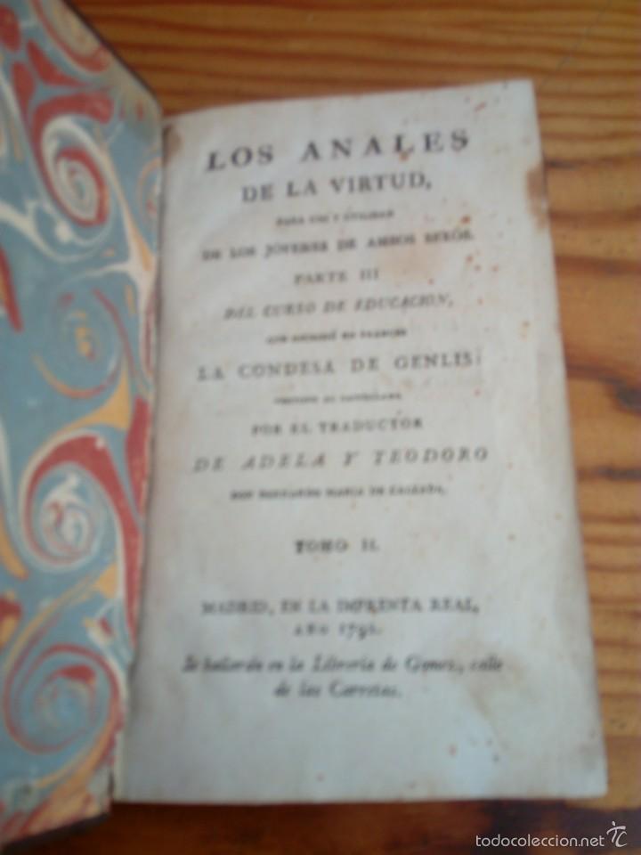 Libros antiguos: LOS ANALES DE LA VIRTUD, TOMO NUMERO 2,AÑO 1792,CONDESA DE GENLIS. - Foto 3 - 57728057