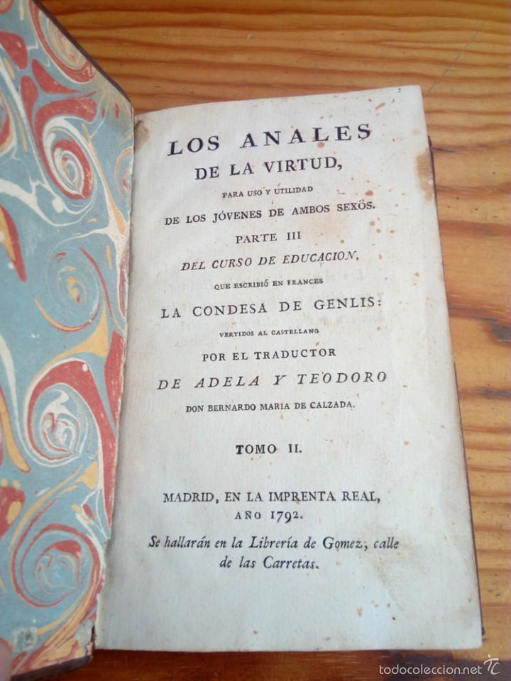 Libros antiguos: LOS ANALES DE LA VIRTUD, TOMO NUMERO 2,AÑO 1792,CONDESA DE GENLIS. - Foto 4 - 57728057