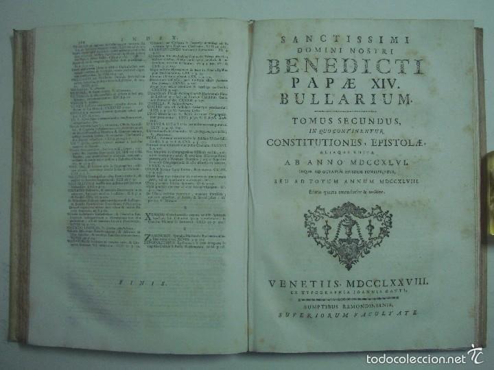 Libros antiguos: BENEDICTI PAPAE XIV, BULLARIUM. 1778. 2 TOMOS EN GRAN FOLIO. PERGAMINO ROMANO. - Foto 5 - 57991661