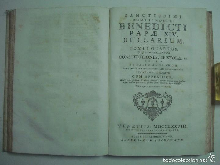 Libros antiguos: BENEDICTI PAPAE XIV, BULLARIUM. 1778. 2 TOMOS EN GRAN FOLIO. PERGAMINO ROMANO. - Foto 7 - 57991661