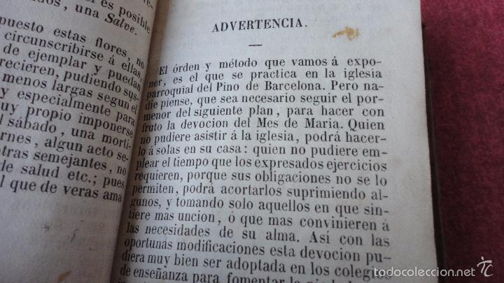 Libros antiguos: RAMILLETE DE FLORES.VIRGEN SANTISIMA.MES DE MAYO.IGLESIA NTRA,SRA DEL PINO.BARCELONA.1857. - Foto 3 - 237057680