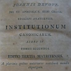 Libros antiguos: INSTITUTIONUM CANONICARUM. LIBRI IV. TOMUS SECUNDUS. 1819. Lote 59634343