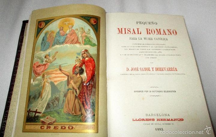 Libros antiguos: PEQUEÑO MISAL ROMANO PARA LA MUJER CATÓLICA. JOSÉ SAYOL Y ECHEVARRÍA. 1883. - Foto 3 - 59713215