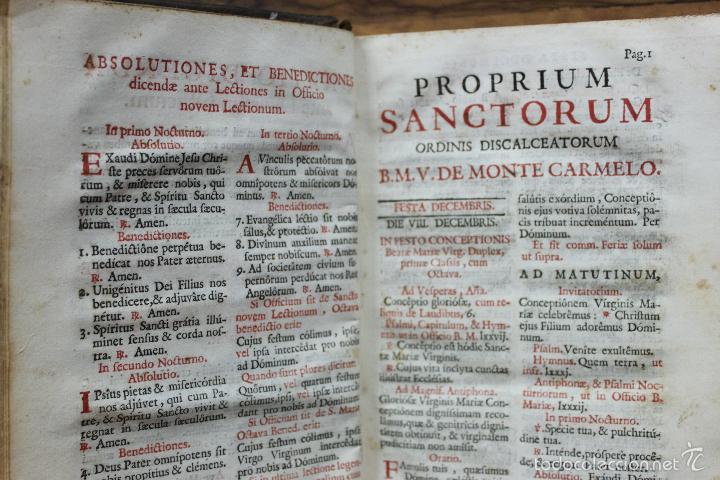 Libros antiguos: OFFICIA PROPRIA SANCTORUM ET ALIARUM FESTIVITATUM ORDINIS CARMELITARUM... 1745. - Foto 5 - 59845524