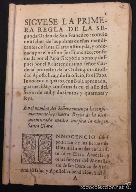SEGUNDA REGLA DE LA ORDEN DE SAN FRANCISCO (Libros Antiguos, Raros y Curiosos - Religión)