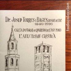Libros antiguos: L'ATLETISME CRISTIÀ. DR. JOSEP TORRAS I BAGES.. Lote 62451800