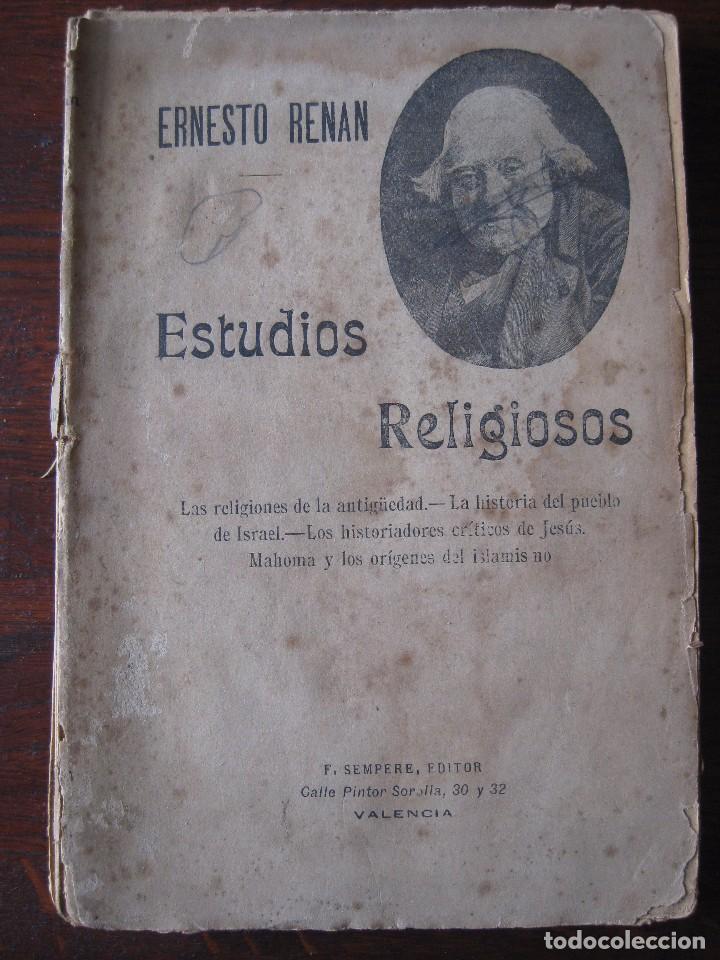 ESTUDIOS DE HISTORIA RELIGIOSOS ERNESTO RENAN 1901 (Libros Antiguos, Raros y Curiosos - Religión)