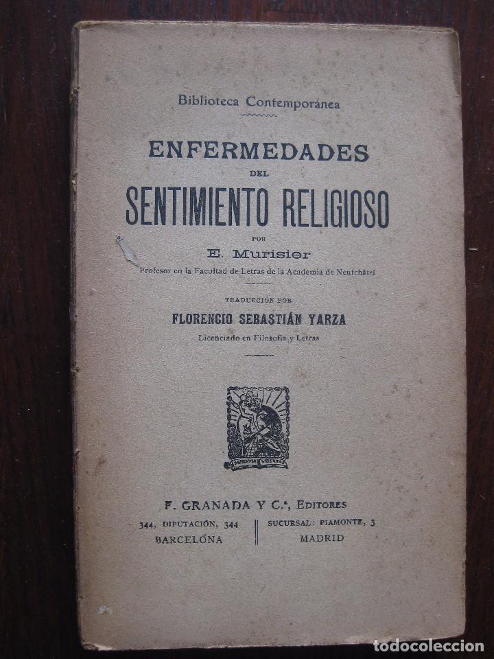 ENFERMEDADES DEL PENSAMIENTO. POR E. MURISIER. TRADUCIDO POR FLORENCIO SEBASTIÁN YARZA. (Libros Antiguos, Raros y Curiosos - Religión)