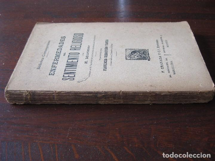 Libros antiguos: Enfermedades del pensamiento. Por E. Murisier. Traducido por Florencio Sebastián Yarza. - Foto 2 - 62893696