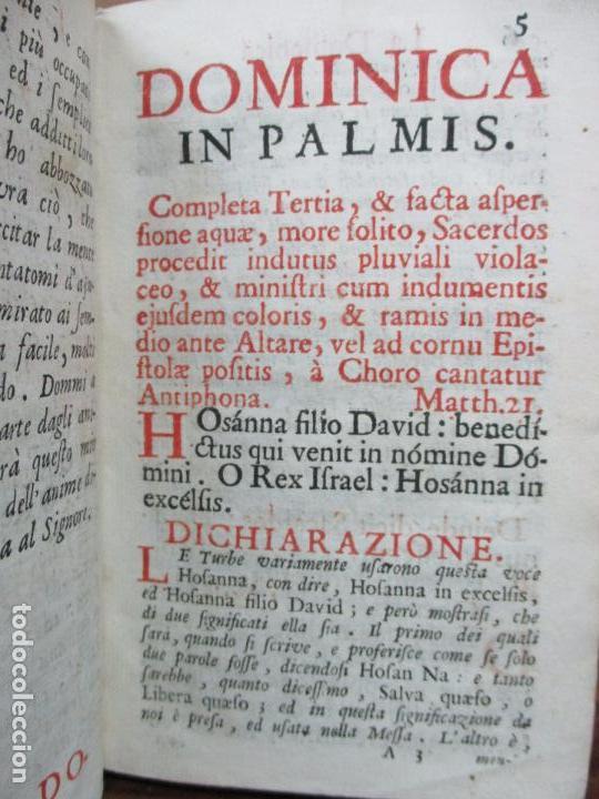 Libros antiguos: FICIUM HEBDOMADAE SANCTAE JUXTA FORMAM MISSALIS ... HIERONYMUM JOANNINUM. 1720. - Foto 4 - 63528860
