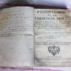 Libros antiguos: PROMTUARIO DE LA THEOLOGIA MORAL. Lote 54512685