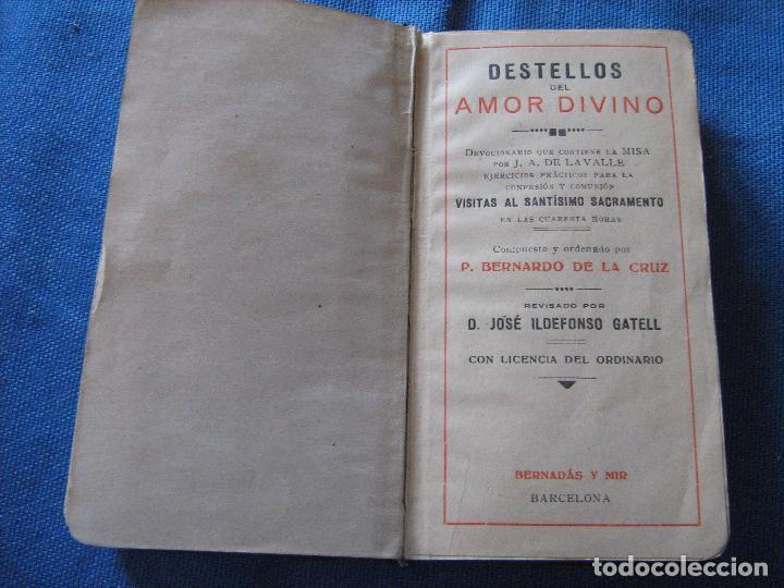 DESTELLOS DEL AMOR DIVINO - DEVOCIONARIO - CONTIENE MISA (Libros Antiguos, Raros y Curiosos - Religión)