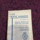Libros antiguos: LOS NUEVE SÁBADOS EN HONOR DE NUESTRA SEÑORA DEL PERPETUO SOCORRO. Lote 67299095
