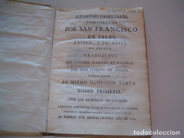 Libros antiguos: SAN FRANCISCO DE SALES. Sermones Familiares I, II. DOS TOMOS. RM77700. - Foto 3 - 68559265