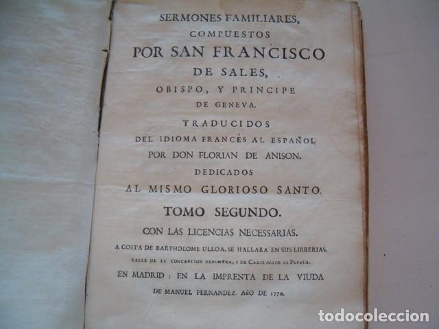 Libros antiguos: SAN FRANCISCO DE SALES. Sermones Familiares I, II. DOS TOMOS. RM77700. - Foto 7 - 68559265