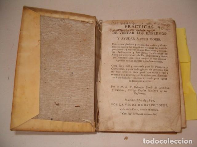 Libros antiguos: Prácticas de visitar los enfermos y ayudar á bien morir. CUATRO TOMOS en un solo volumen. RM77702. - Foto 2 - 68559821