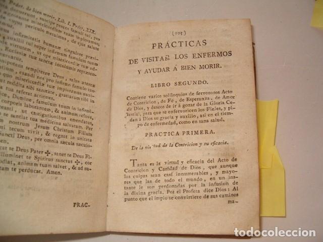 Libros antiguos: Prácticas de visitar los enfermos y ayudar á bien morir. CUATRO TOMOS en un solo volumen. RM77702. - Foto 3 - 68559821