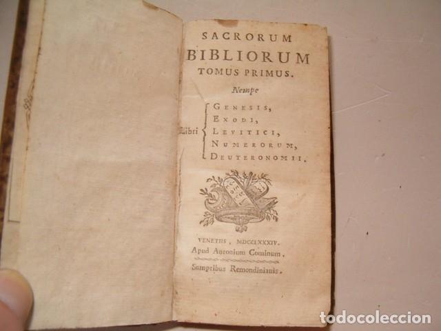 Libros antiguos: Sacrorum Bibliorum. Tomus Primus y Tertius. DOS TOMOS. RM77771. - Foto 3 - 68889093