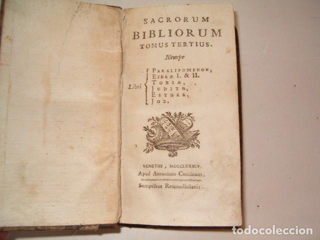 Libros antiguos: Sacrorum Bibliorum. Tomus Primus y Tertius. DOS TOMOS. RM77771. - Foto 5 - 68889093