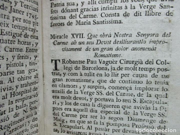 Libros antiguos: LLIBRE DELS MIRACLES DE NRA. SRA. DEL CARME... JOAN ANGEL SERRA. 1701. - Foto 5 - 69269901