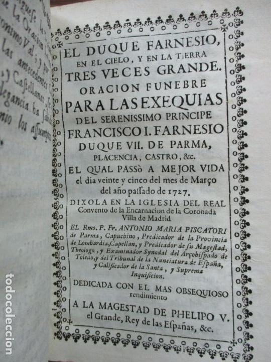 Libros antiguos: BREVE ELOGIO, Y CEÑIDA RELACIÓN DE LA VIDA, ENFERMEDAD...FRANCISCO FARNESIO. 1728. 3 OBRAS EN 1 VOL. - Foto 10 - 71822743