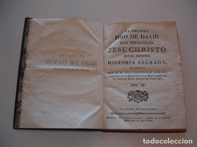 Libros antiguos: El Grande Hijo de David Más Perseguido, Jesu Christo Nuestro Señor. Tomos I, II y III. RM78336. - Foto 7 - 72218731