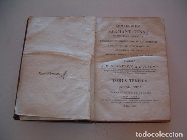Libros antiguos: R. P. FR. ANTONIO A S. JOSEPH. Compendium Salmanticense in tres tomos. Tomus Tertius. RM78339. - Foto 2 - 72219279