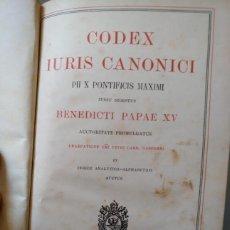 Libros antiguos: CODEX IURES CANONICI PII X PONTIFICIS MAXIMI IUSSU DIGESTUS BENECICTIPAPAE XV, 1927. Lote 73575435