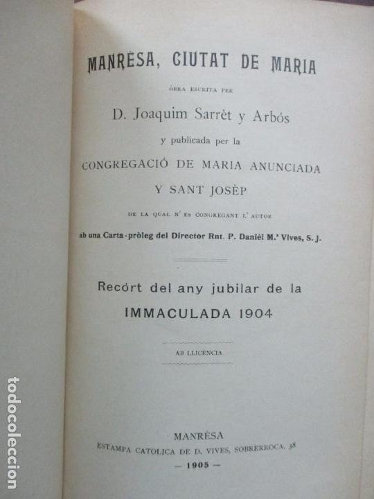 MANRESA, CIUTAT DE MARIA. JOAQUIM SARRET Y ARBÓS. (Libros Antiguos, Raros y Curiosos - Religión)