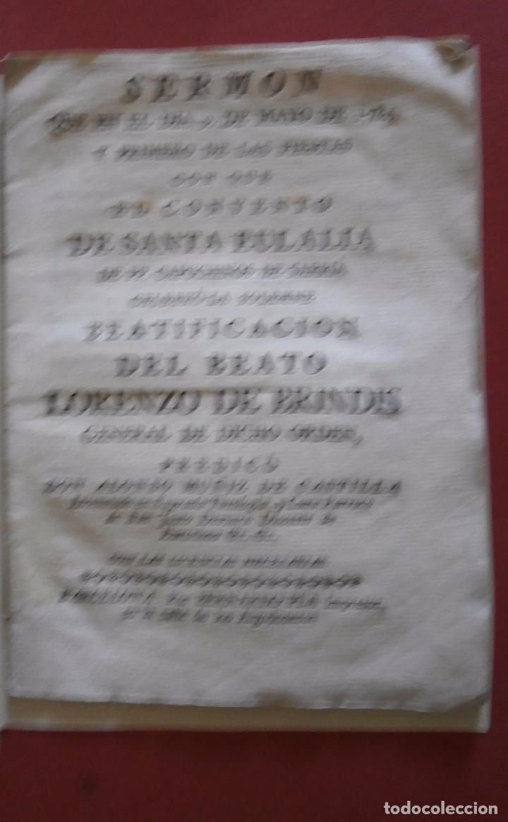 SERMON QUE EL DIA 9 DE MAYO DE 1784 Y PRIMERO DE LAS FIESTAS CON QUE EL CONVENTO DE SANTA EULALIA DE (Libros Antiguos, Raros y Curiosos - Religión)