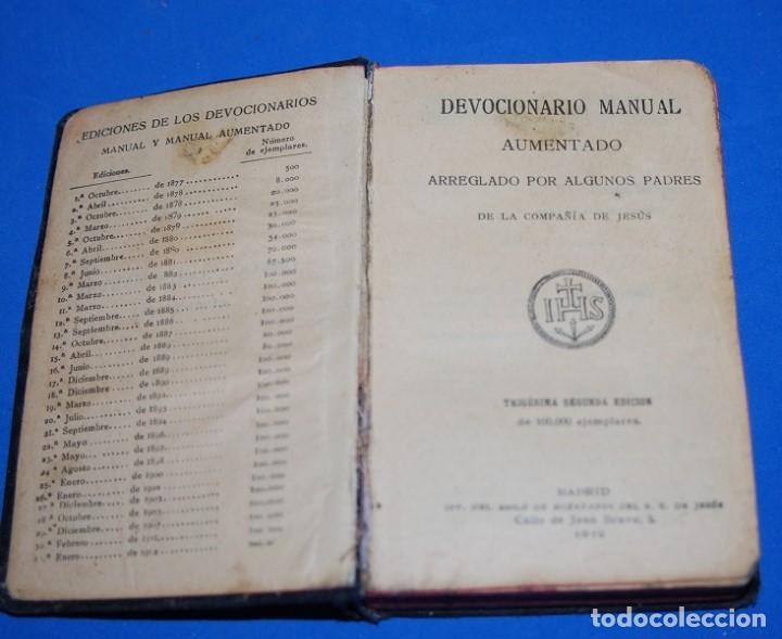 DEVOCIONARIO MANUAL AUMENTADO 1912 (Libros Antiguos, Raros y Curiosos - Religión)